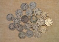 ROLL OF 1917-D WALKING LIBERTY HALF DOLLARS  CIRCULATED WITH PROBLEMS - 20 COINS