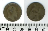GREAT BRITAIN 1905 - HALF PENNY BRONZE COIN - EDWARD VII - COUNTER-STAMPED '87'