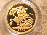 2004 ROYAL MINT UK GOLD PROOF FULL SOVEREIGN COIN .917 22K BOXED