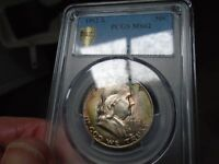 1952-S FRANKLIN HALF DOLLAR. TONING ON BOTH SIDES. PCGS MINT STATE 62
