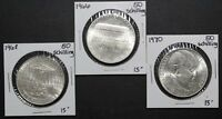 LOT OF 3 SILVER AUSTRIA 50 SCHILLING COINS   3 COIN LOT