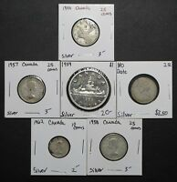 LOT OF 6 SILVER CANADIAN COINS   DIMES QUARTERS AND A PROOF LIKE DOLLAR