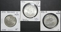LOT OF 3 SILVER GERMAN COINS   1972 5 MARK   1972 10 MARK   1972 D 10 MARK