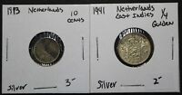 1913 NETHERLANDS 10 CENTS AND 1941 NETHERLANDS EAST INDIES 1/4 GULDEN   COIN LOT