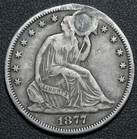 1877 CC SEATED LIBERTY SILVER HALF DOLLAR   GREAT DETAILS   CARSON CITY   PLUG