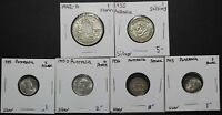 LOT OF 6 SILVER AUSTRALIAN COINS SHILLING FLORIN AND PENCE   AUSTRAILIA