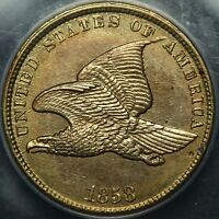 STUNNING   1858 FLYING EAGLE CENT UNCIRCULATED   ANACS MS 60 DETAILS   GORGEOUS