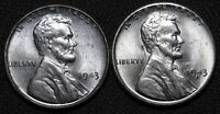 LOT OF 2 UNCIRCULATED STEEL CENTS   1942 P & 1942 S 1C
