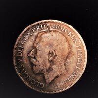 1919 BRITISH UK GEORGE V HALF PENNY. RED LUSTER FINE DETAILS 004