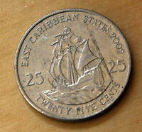 2002 EAST CARIBBEAN STATES 25 CENTS GOLDEN HIND
