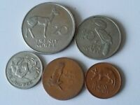 ZAMBIA SET OF 5 COINS 20 10 5 2 1 NGWEE 1968 72   O