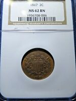 1867 2 CENT PIECE 2C BROWN NGC SECURE  MINT STATE 62 MINT STATE 62 BR UNC BRONZE COPPER