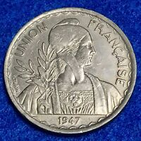 1947 FRENCH INDOCHINA 1 PIASTRE KM 32.2  REEDED EDGE   CHOICE UNC COIN