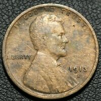 1913 S LINCOLN WHEAT CENT PENNY - DAMAGE