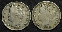 LOT OF 2 1911 LIBERTY V NICKELS - BOTH HAVE WONDERFUL DETAIL
