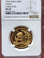 1994 CHINA 1/2 OUNCE GOLD PANDA LARGE DATE G50Y NGC/NCS MINT STATE 69