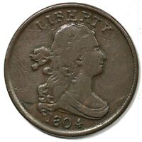 1804 C-13 TRIPLE STRUCK DRAPED BUST HALF CENT COIN 1/2C
