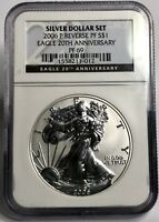 2006-P $1 SILVER EAGLE NGC REVERSE PROOF PF69 20TH ANNIVERSARY SILVER DOLLAR SET