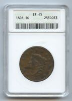 1826 LARGE CENT 9392 ANACS EF45. SOME OBV. DARKNESS.