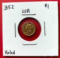 1852 USA LIBERTY HEAD GOLD DOLLAR   GREAT DETAILS   HOLED