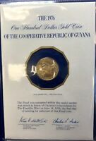 THE 1976 $100 GOLD COIN OF REPUBLIC OF GUYANA PROOF 5.74 GR