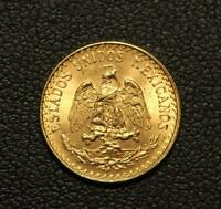 1945 MEXICO GOLD DOS PESOS UNCIRCULATED   TWO PESOS GOLD COIN