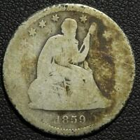 1859 O SEATED LIBERTY SILVER QUARTER   KEY DATE