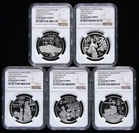 NGC PF69 CHINA 1994 INVENTIONS DISCOVERIES SERIES THREE SILVER COIN 5X22G 5 YUAN