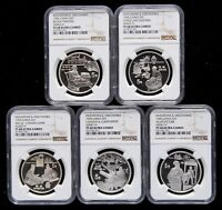 NGC PF68 CHINA 1995 INVENTIONS DISCOVERIES SERIES FOUR SILVER COIN 5X22G 5 YUAN