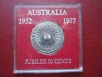 AUSTRALIA 1977 QUEEN'S SILVER JUBILEE 50 CENTS COIN IN PLASTIC HOLDER HIGH GRADE