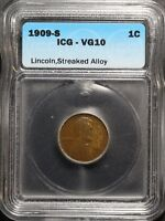 1909 S LINCOLN WHEAT CENT PENNY ICG VG 10   STREAKED ALLOY   WOODGRAIN EFFECT