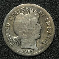 1903 S BARBER SILVER DIME   SEMI KEY DATE    CLEANING