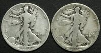 LOT OF 2 EARLY DATE WALKING LIBERTY SILVER HALF DOLLARS   1920 D & 1917