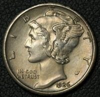 1926 S MERCURY SILVER DIME   BEAUTIFUL HIGHER GRADE KEY DATE    CLEANED