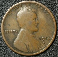 1914 D LINCOLN WHEAT CENT PENNY   OBVERSE SCRATCH