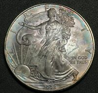 2008 AMERICAN SILVER EAGLE 1 OZ SILVER   BEAUTIFULLY TONED