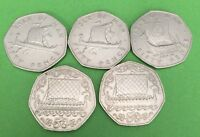 5 X IOM ISLE OF MAN CIRCULATED 50P VIKING FIFTY PENCE COIN 1