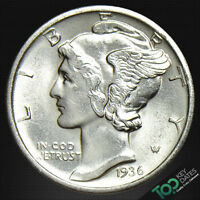 1936-D  10 MERCURY DIME  MS GEM BU   FB  5001BAU1