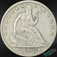 1853  50 ARROWS & RAYS LIBERTY SEATED HALF DOLLAR  EXTRA FINE  EXTRA FINE  6275POU1