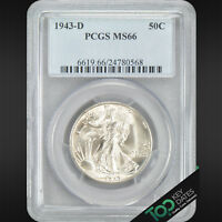 1943-D  50 WALKING LIBERTY HALF  PCGS MINT STATE 66   SOLID GEM BU  24780568