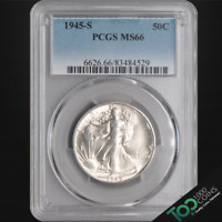 1945-S  50  WALKING LIBERTY HALF  PCGS MINT STATE 66 SOLID GEM BU  83484529