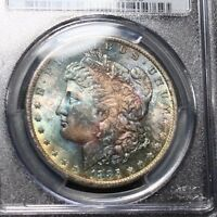 TONED 1885 O MORGAN SILVER DOLLAR PCGS MS65 TONING COLOR UNCIRCULATED