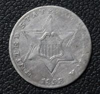 1858 SILVER THREE CENT PIECE   HIGHER GRADE