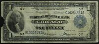 1918 $1 GREEN EAGLE CHICAGO NATIONAL CURRENCY ONE DOLLAR NOTE