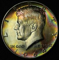 BEAUTIFULLY TONED 1964 D KENNEDY 90  SILVER HALF DOLLAR   TONING