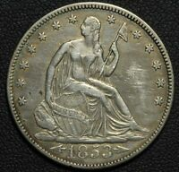 1853 ARROWS AND RAYS SEATED LIBERTY SILVER HALF DOLLAR