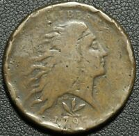 1793 FLOWING HAIR WREATH CENT   VINE & BARS EDGE S 8