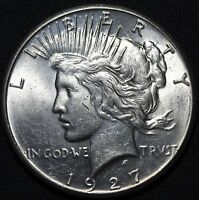 1927 PEACE SILVER DOLLAR   LUSTROUS   REV SCRATCH