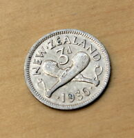 1936 NEW ZEALAND 3 PENCE SILVER