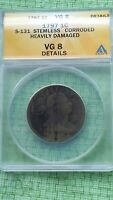 1797 DRAPED BUST LARGE CENT , GRADED VG 8 M407B